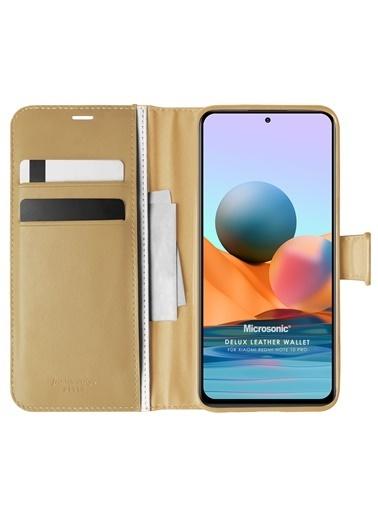 Microsonic Xiaomi Redmi Note 10 Pro Kılıf Delux Leather Wallet Gold Altın